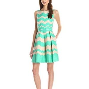 Taylor Chevron Fit-and-Flare Sleeveless Dress NEW